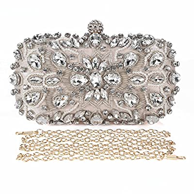 Chichitop Women Noble Crystal Beaded Evening Bag Wedding Clutch Purse Apricot Small