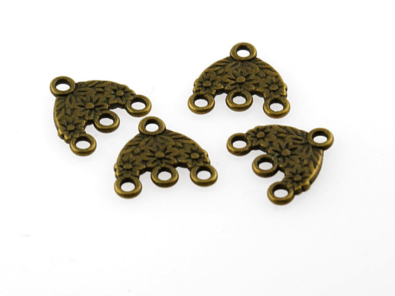 Knebelverschlüsse in antik bronzefarben 4 Stück von Vintageparts DIY-Schmuck