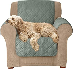 SureFit Home Decor Microfiber Pet Chair One Piece Quilted Furniture Cover, Relaxed Fit, Polyester, Machine Washable, Sea Glass Color