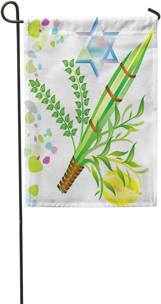 Lomue Garden Flag 12x18 Inches Print Jewish Holiday Sukkot Israel Mitzvah Myrtle Leaf Festival Etrog Polyester Home Yard Farm Flag Fade Resistant Outdoor House Decor Flag Decoration