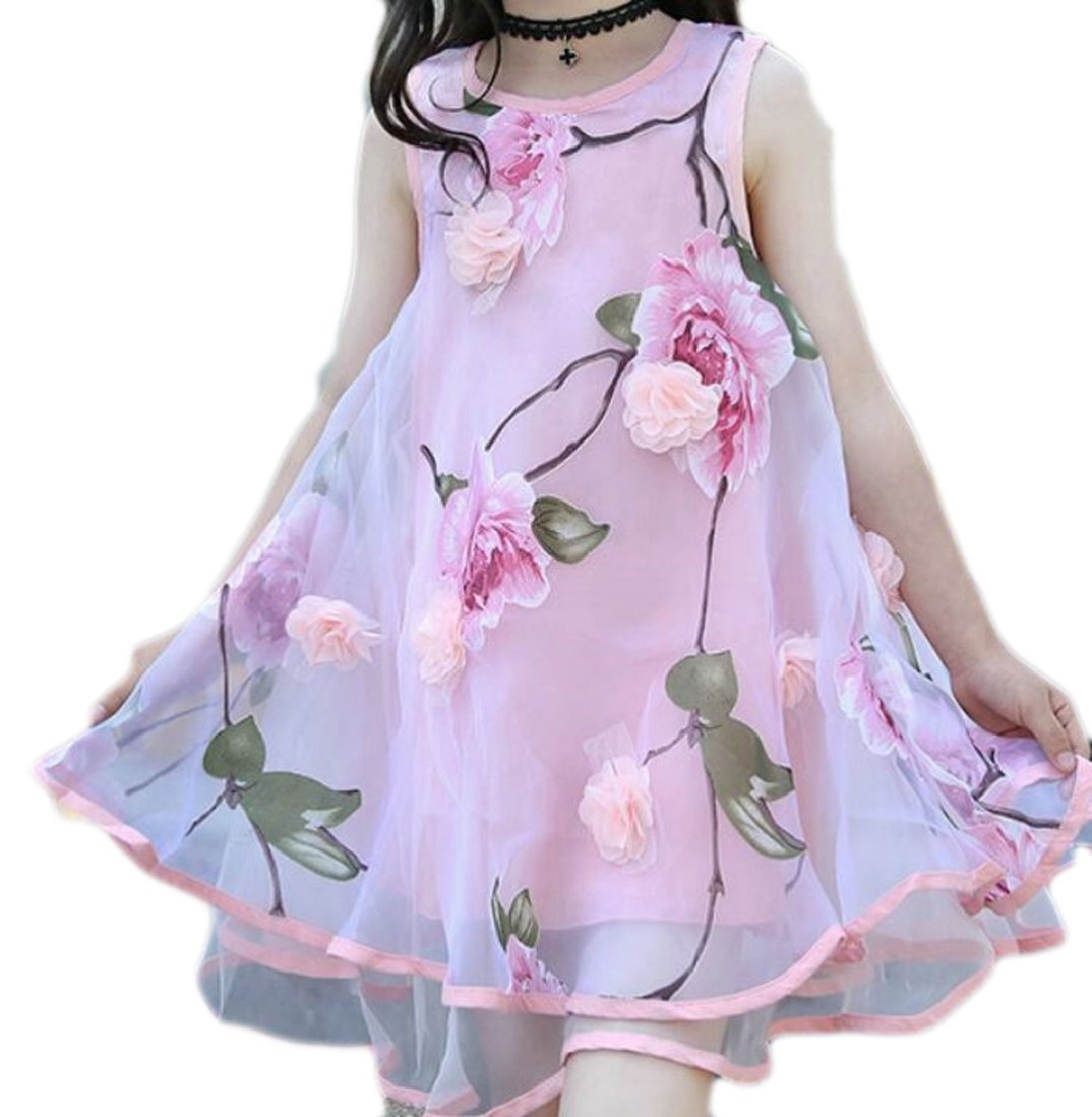Yayu Little Girl Sundress Dress Lovely Flower Print Irregular A-Line Mesh Dress Pink 8T