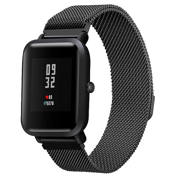 JiaMeng para Xiaomi MI Banda, Moda de Correa de Banda de Reloj de Pulsera de Acero Inoxidable para Reloj Xiaomi Amazfit Bip(Negro,tamaño Libre): Amazon.es: ...