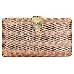 Elegant Formal Evening Clutch With Metal Leaf Clasp