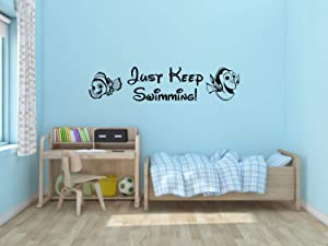 A Design World Vinyl decacls Just Keep Swimming Wall Decal Vinyl Decal Disney Sticker Finding Nemo Finding Dory Bedroom Kid Child Decor