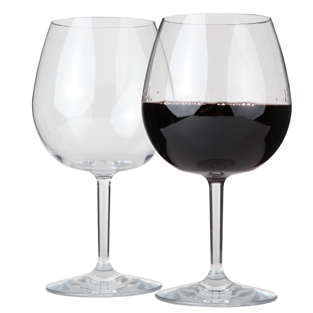 Lily's Home Unbreakable Pinot Noir and Burgundy Red Wine Glasses, Made of Shatterproof Tritan Plastic, Ideal for Indoor and Outdoor Use, Reusable and Dishwasher-Safe, Crystal Clear (22 oz. Each, Set of 2)
