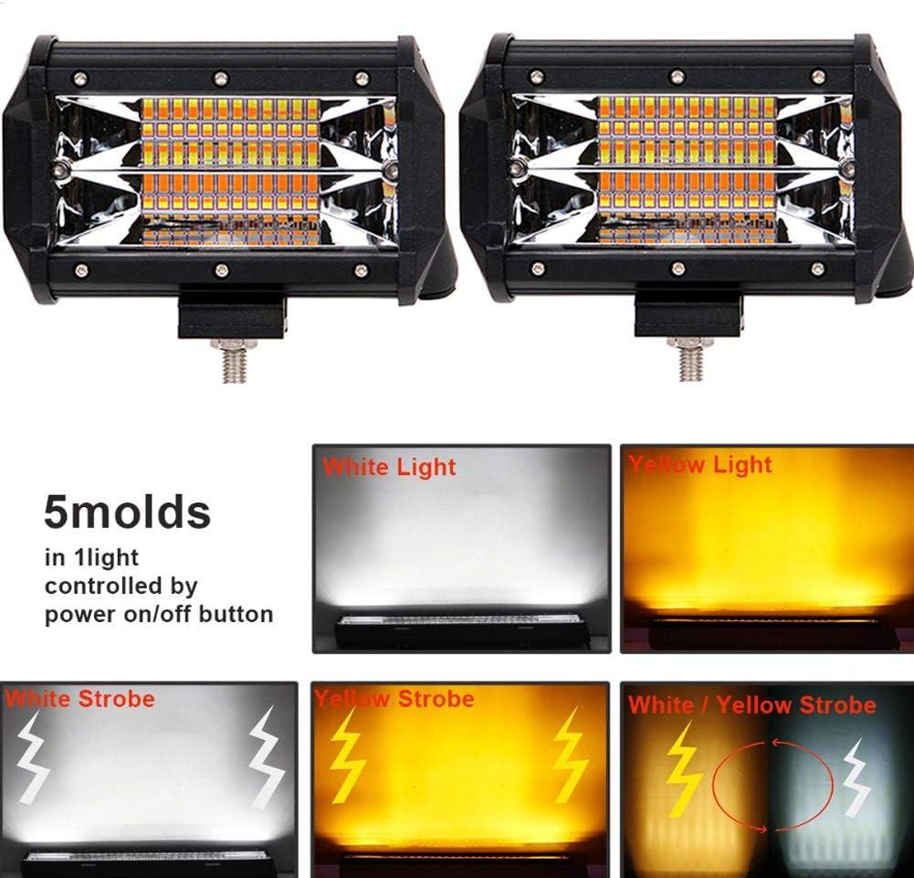 AUXTINGS 2 Pcs 5 inch 72W LED Strobe Light Bar White /& Amber Flash Triple Row 5500LM Flood Spot Combo Led Bar Off Road Lights