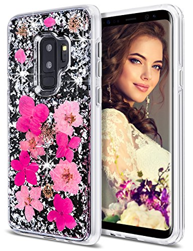 Coolden Case for Galaxy S9 Plus Case Luxury Glitter Case with Dried Natural Flower Cute Girly Shockproof 2 Layers Solid PC Cover Case Flexible TPU Frame for Samsung Galaxy S9 Plus, Pink Flower