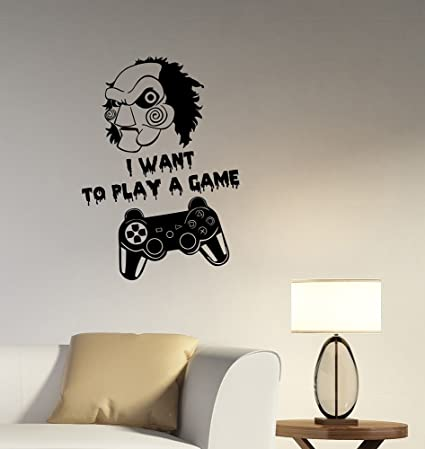 Jigsaw I Want To Play A Game Quote Vinyl Wall Decal Gamer Gamepad