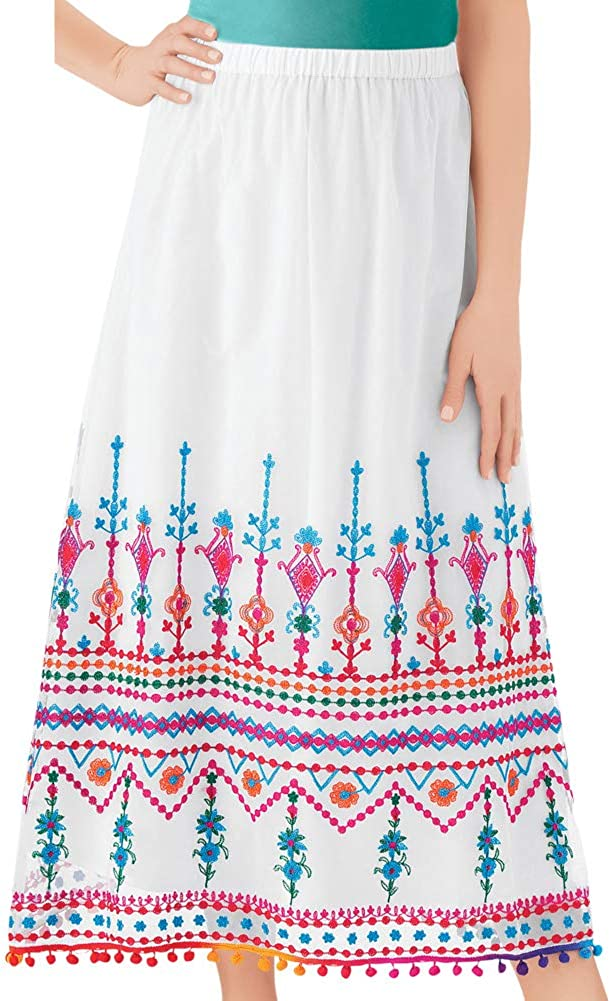 Collections Etc Colorful Pattern Border Embroidered Skirt with Cute Fringe Trim, Elastic Waistband for Comfort
