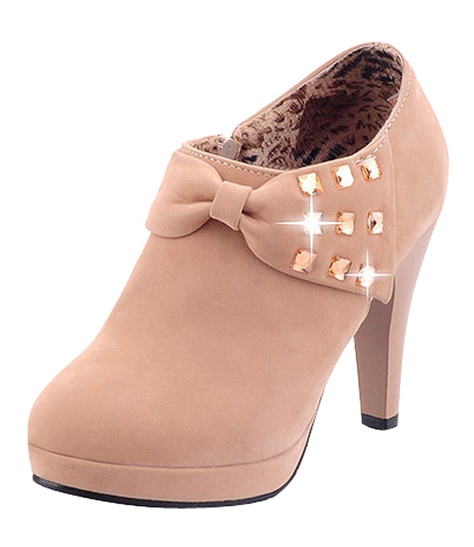 Minetom Damen Klassisch Vintage Schuhe Pumps High Heels Ankle Boots Brautschuhe Party mit Schleife Strass  EU 44|Khaki