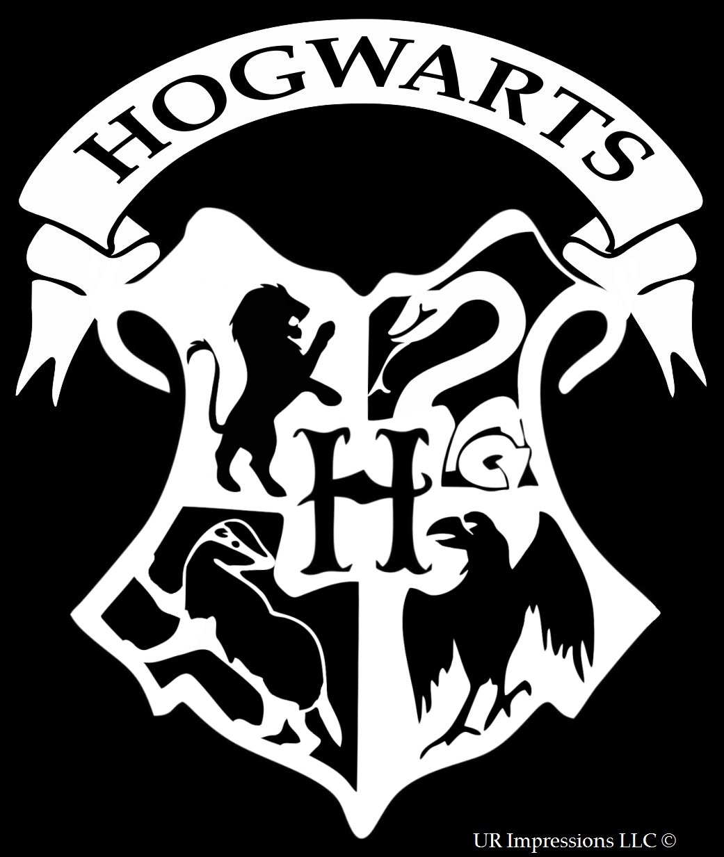 UR Impressions Hogwarts Crest Decal Vinyl Sticker Graphics for Car Truck SUV Van Wall Window Laptop|White|6.6 X 5.5 Inch|URI135