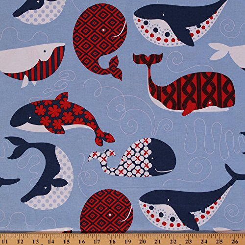 Cotton True Blue Whales Nautical Animals Ocean Cotton Fabric Print by the Yard (113.105.01.2) (Fabric Cotton Nautical)