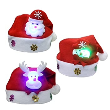 Amazon Com 3pcs Unisex Cute Children S Christmas Santa Claus Cap