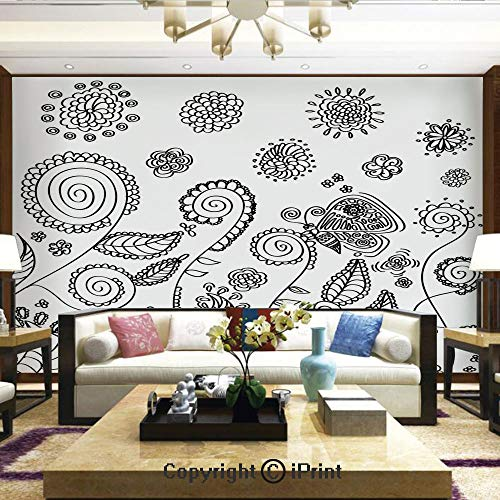 Lionpapa_mural Removable Wall Mural Ideal to Decorate Your Living Room,Doodle Style Circular Swirled Flower Petals Butterfly Leaves Curved Branches Design,Home Decor - 66x96 inches