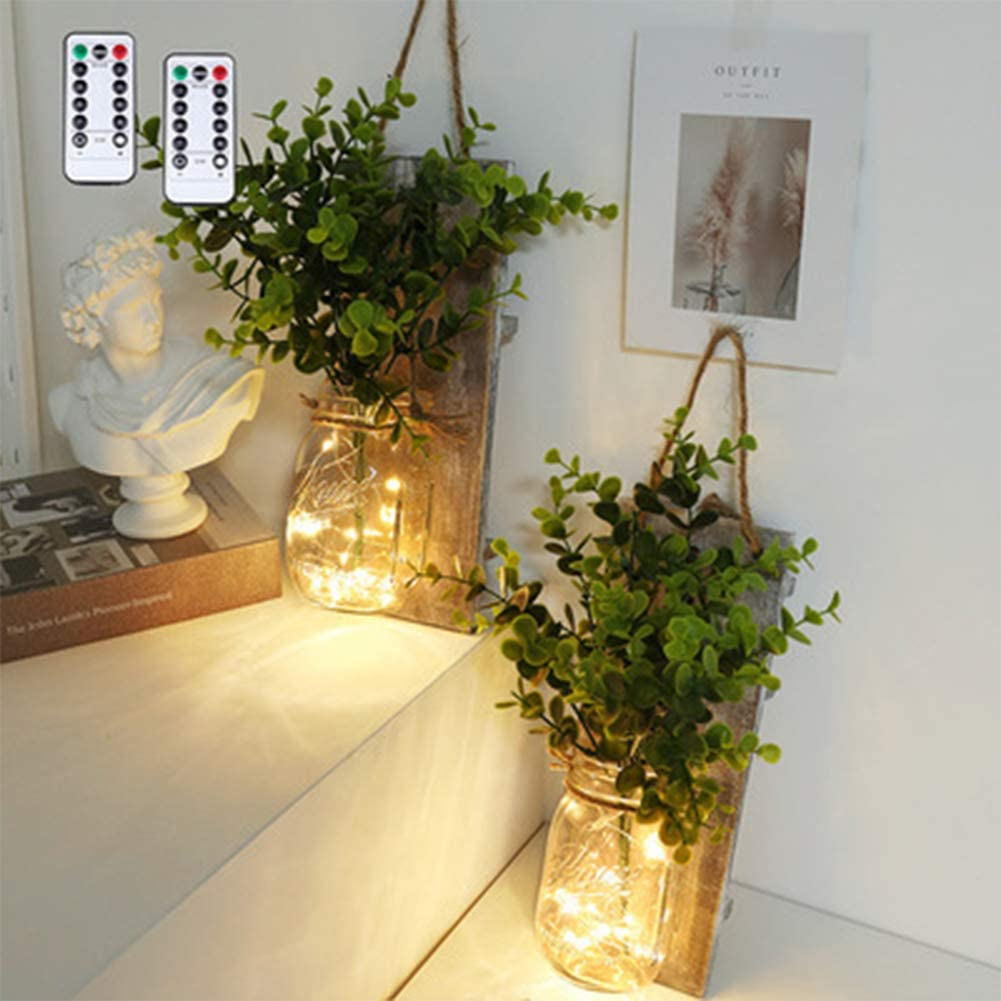 2 apliques de pared para tarro de masón, decoración rústica de pared, cadena de luces LED con flor artificial y tablero de madera, lámpara de pared LED retro para jardín de cocina