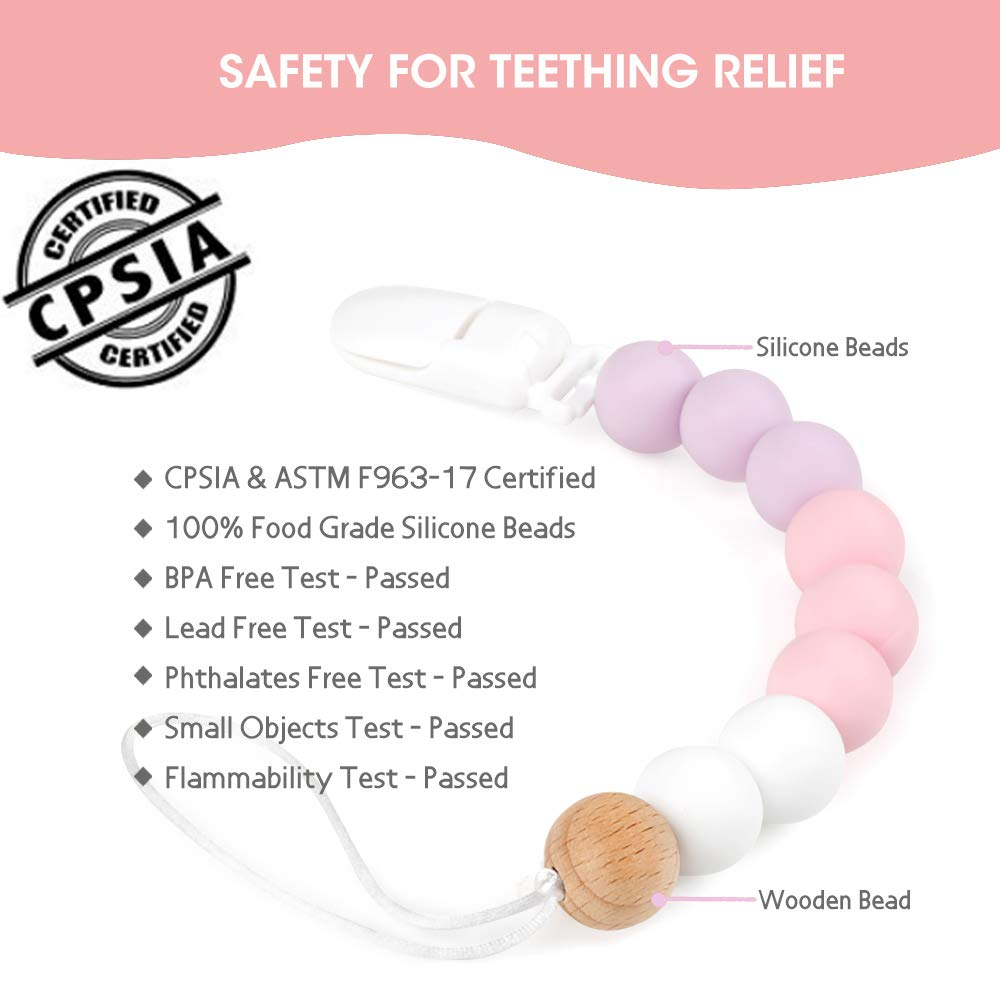 Pink BPA Free Teething Beads Toys Shower Gift for Baby Girls Boys Infant Toddler MCGMITT Pacifier Clip Silicone
