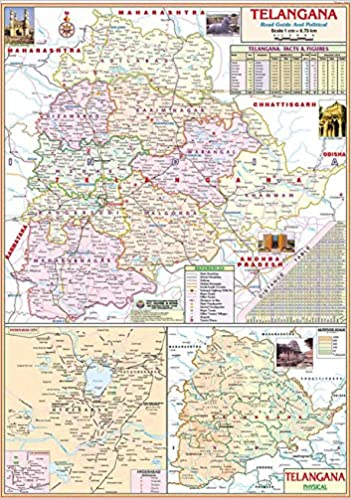 Buy Telangana Political State Map School Map Wall Map Hyderabad Map