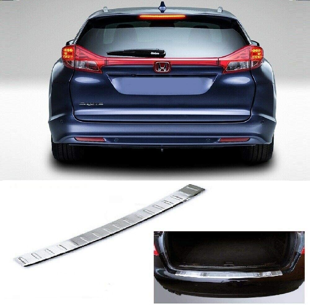 For CIVIC TOURER ESTATE 2014up Stainless Steel CHROME Rear Bumper Protector Sill Scratch Guard Cover