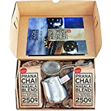 Prana Chai 2 bag chai lovers starter pack including chai teapot, fine mesh strainer and 2 bags all-natural masala blend. Only the Good Stuff.