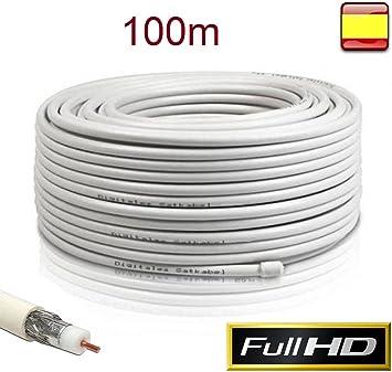 Cable Coaxial para Antena TV Bobina 100m Metros RG6U TDT Sat: Amazon.es: Electrónica