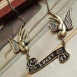 SODIAL(TM) Fashion Swallow Tattoo Rockabilly Lucky Vintage Brass Bird Necklace Birds Rock Chic women