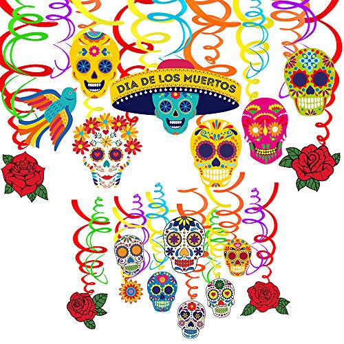 Supla 32 Pcs Day of The Dead Hanging Swirl Decorations Mexican Party Swirls Streamers Hanging Ceiling Décor with Assorted Sugar Skull Rose Bird Flower Cutouts for Día de Los Muertos