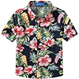 SSLR Big Boy's Hibiscus Cotton Short Sleeve Casual Button Down Hawaiian Shirt (Small(8), Navy)