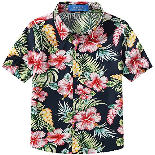SSLR Big Boy's Floral Cotton Casual Button Down Short Sleeve Hawaiian Shirt (X-Small(6), Navy) Boys Blue Ss Shirt Top