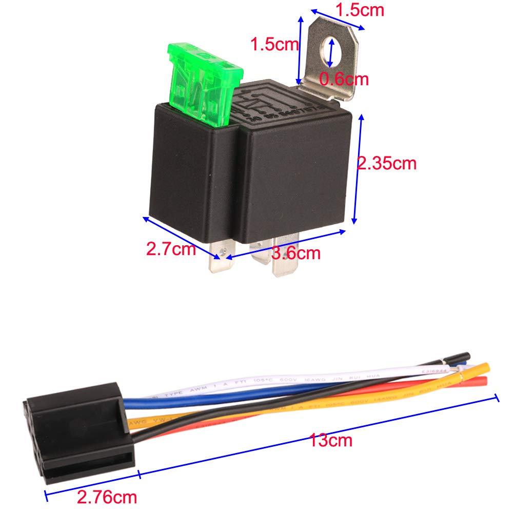 5 Pin SPDT On//Off Rel/è Elettrici Automobilistici con 14AWG Filo Pesante Gebildet 3 pezzi 12V Auto Fusibile Rel/è con Presa Filo 30A ATO//ATC Fusibile a Lama