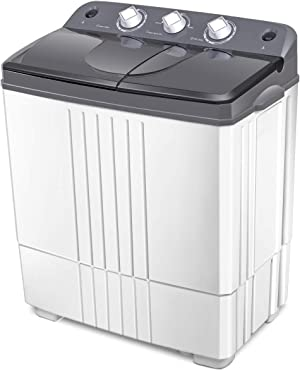 Giantex Washing Machine, Twin Tub Washer and Dryer Combo, 20Lbs Capacity (12Lbs Washing and 8Lbs Spinning), Compact Portable Washing Machine, Mini Laundry Washer for Apartment and Home, Semi-Automatic, with Inlet and Drain Hose