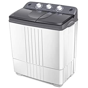 COSTWAY Washing Machine, Electric Compact Twin Tub Laundry Machines Portable Durable Design Washer 16Lbs Capacity Energy Saving, Rotary Controller and Washer Spin Dryer with Hose (Grey and White)