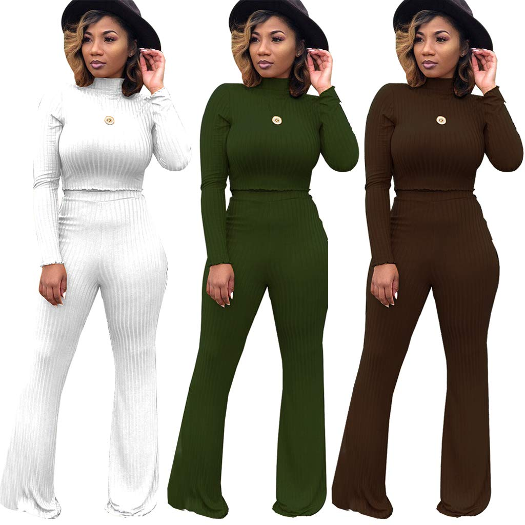 Women\'s Winter 2 Piece Outfits - Elegant Slim Crop Top Shirts + High Waisted Wide Leg Pants Jumpsuits Small Coffee