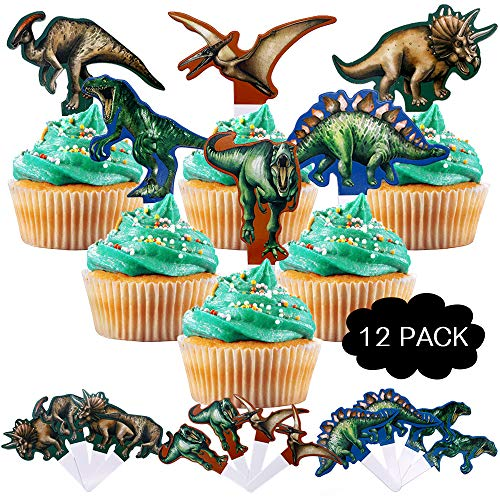 Dinosaur Party Decorations - Cake Cupcake Toppers (12 pack) - Jurassic Dinosaur Theme Cake Decorations for Kids Boys Girls baby friends Birthday Anniversary Party Supplies (6 colors) ()