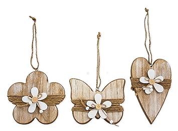3x Deko Figur Anhänger Herz Blume Schmetterling Zum Hängen, Holz 21,5 Cm  Groß