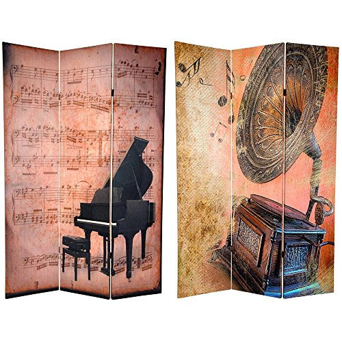 Oriental Furniture 6 ft. Tall Double Sided Music Room Divider - Piano/Phonograph by ORIENTAL FURNITURE