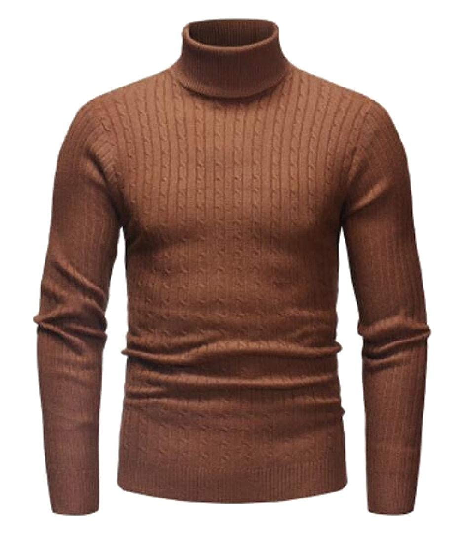 Alion Mens Cashmere Turtleneck Long Sleeve Pullover Sweater