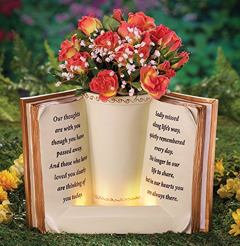 Lighted Garden Planter Memorial Beige