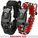 A2S Protection Paracord Bracelet K2-Peak – Survival Gear Kit with Embedded Compass, Fire Starter, Emergency Knife & Whistle (Black / Red Adjustable Size)