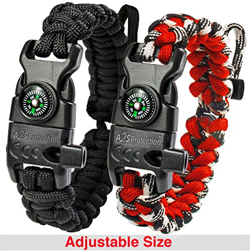 A2S Protection Paracord Bracelet K2-Peak – Survival Gear Kit with Embedded Compass, Fire Starter, Emergency Knife & Whistle (Black / Red Adjustable - Size Know To My How