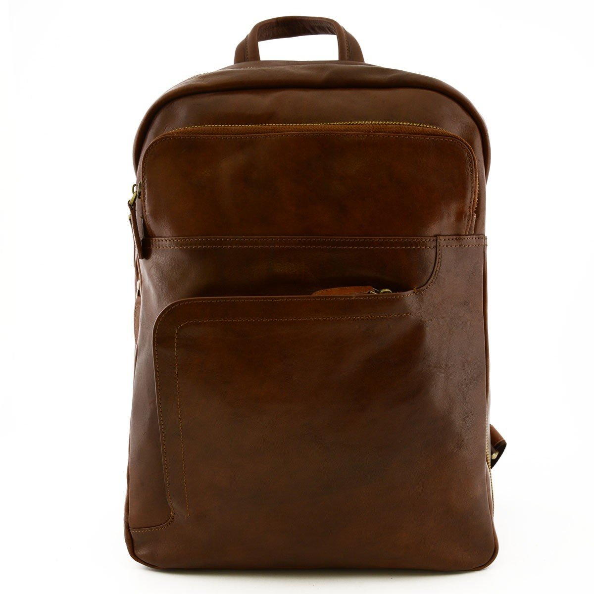 Made In Italy Genuine Leather Man Backpack With Laptop Padded Pocket Color Brown - Backpack   B018W38M92