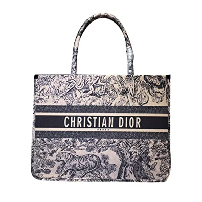 4f072409c Amazon.com: Womens BOOK TOTE BAG IN EMBROIDERED CANVAS Dior Hangbag OBLIQUE  BAG: Shoes