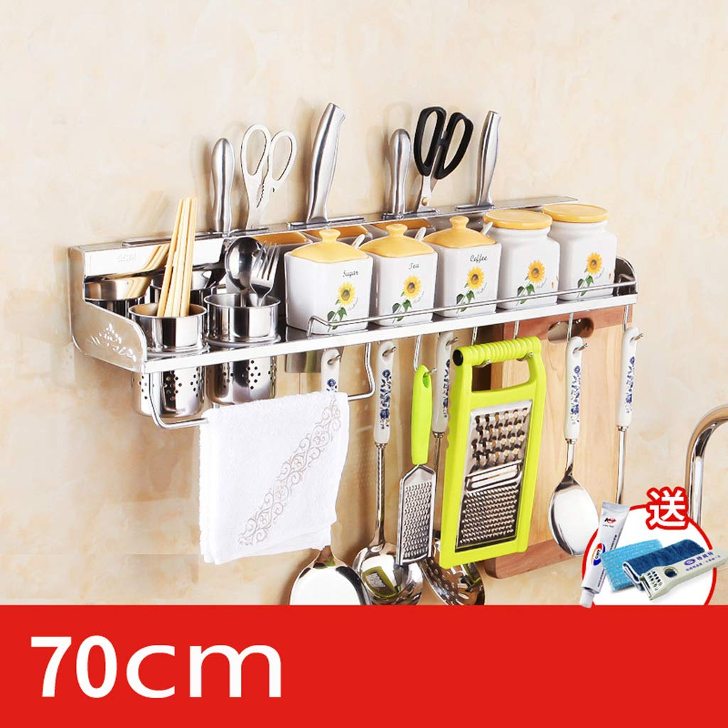 Kitchen Shelf, Multi-Function Stainless Steel Hardware Wall Hanging Kitchen Hook (40-80CM) (Color : No Hanging Basket, Size : 70CM) by CFXZM (Image #2)