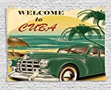 Beach Tapestry 1950s Decor by Ambesonne, Nostalgic Welcome to Cuba Artsy Print with Classic Car Beach Ocean and Palm Trees, Bedroom Living Room Dorm Wall Hanging, 80 X 60 Inches, Green Cream Yellow