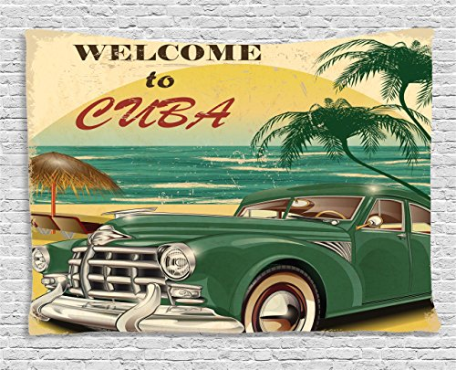 Beach Tapestry 1950s Decor by Ambesonne, Nostalgic Welcome to Cuba Artsy Print with Classic Car Beach Ocean and Palm Trees, Bedroom Living Room Dorm Wall Hanging, 80 X 60 Inches, Green Cream Yellow (Ideas Beach Dining Themed Room)