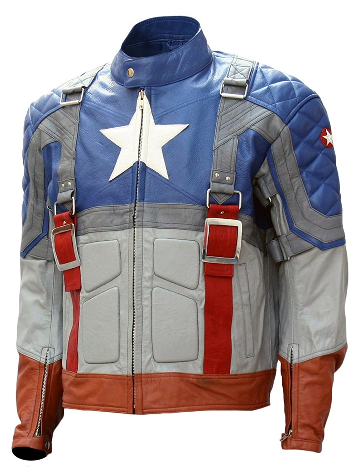 The First Avenger: Captain America Blue Handmade Real Leather Jacket - DeluxeAdultCostumes.com