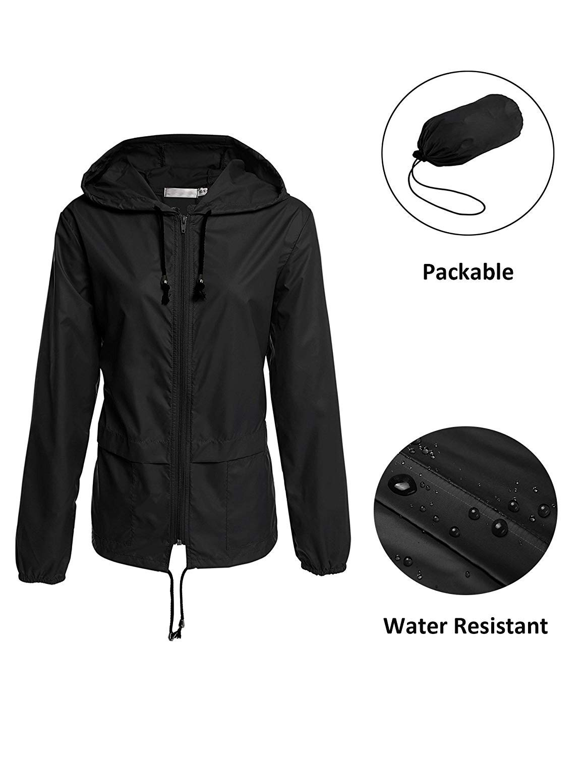 Lightweight Waterproof Raincoat For Women Packable Outdoor Hooded Rain  Jacket product image c571d7cee