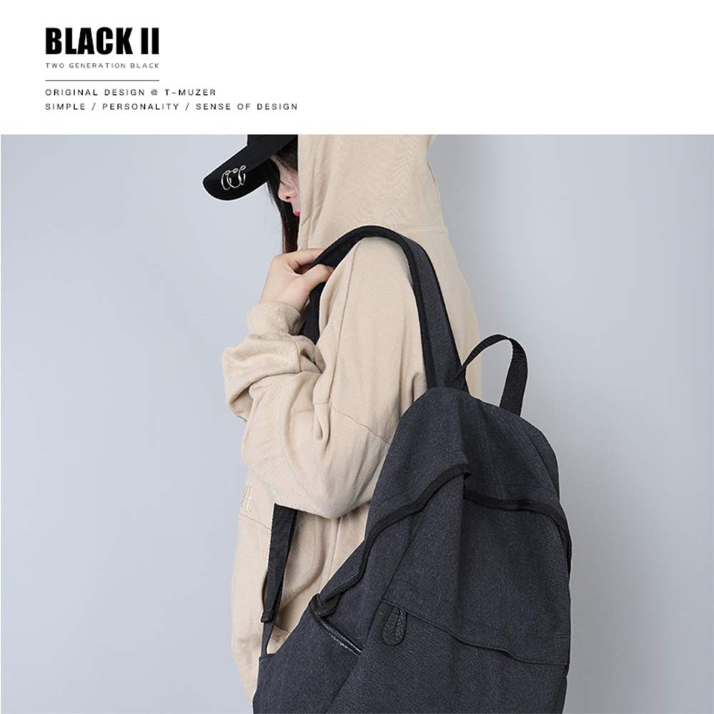 Color : Black ZZG Backpack Male Bag Shoulder Bag Korean Fashion Trend Casual Simple Canvas Large Capacity Travel Female Student Campus