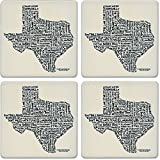 CoasterStone Absorbent Coasters (Set of 4), Relevant Words Texas, 4-1/4''