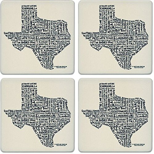 CoasterStone Absorbent Coasters, Relevant Words Texas (Set of 4), 4-1/4