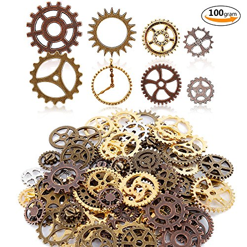 Teenitor Mixed Color 100 Gram (Approx 70pcs) Assorted Antique Steampunk Gears Charms Pendant Clock Watch Wheel Gear for Crafting, Jewelry Making - Products Steampunk